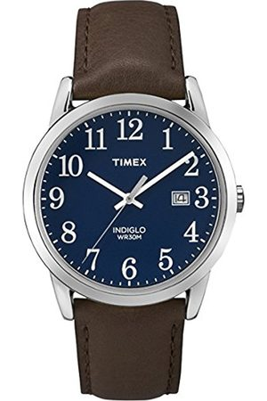 Timex Men's Quartz Watch with Blue Dial Analogue Display and Leather Strap TW2P75900