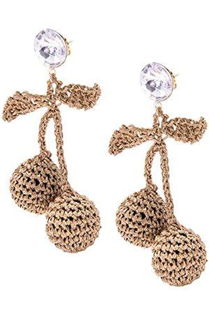 Venessa Arizaga Women's Plated Round White Crystal Rhinestones Brown Cherry Picking Crochet Stud Earrings