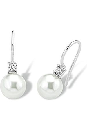 amor women's earrings made of rhodium-plated 925 silver with synthetic white pearls, 2.3 cm, 2017167