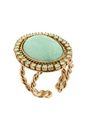 Women's Gold Plated Green Stones Elegant Gabroella Dome Ring - Size O