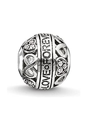 Thomas Sabo Women-Bead LOVE FOREVER Karma Beads 925 Sterling blackened Zirconia white K0212-643-14