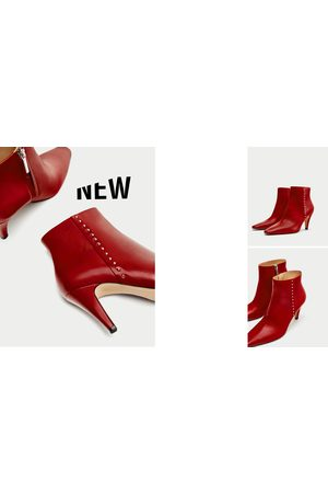 3ddef3cc82ed Zara HIGH HEEL LEATHER ANKLE BOOTS WITH STUDS