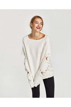 fef7aab494f SWEATSHIRT WITH SLITS AND FAUX PEARLS - Available in more colours