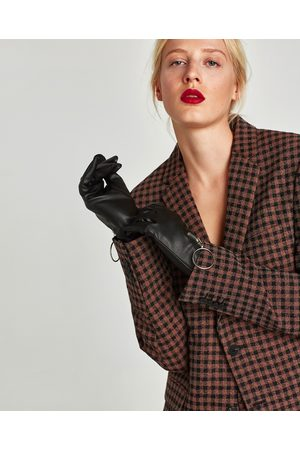 Zara FAUX LEATHER GLOVES WITH ZIP