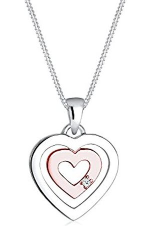 DIAMORE Women's 925 Sterling Silver Gold Plated Xilion Cut Heart Love Friendship Love Token Diamond Necklace of Length 45 cm