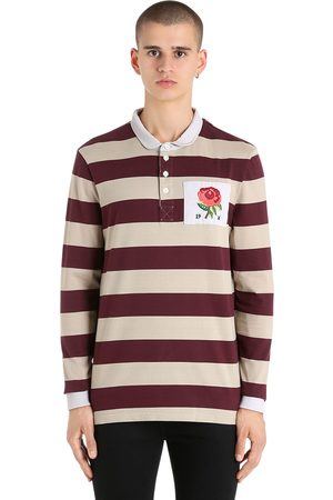 ROSE PATCH STRIPED RUGBY COTTON POLO