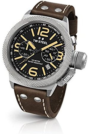 TW Steel Canteen Leather Unisex Quartz Watch with Black Dial Chronograph Display and Brown Leather Strap CS33