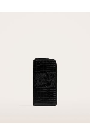 Zara OVERSIZED WALLET WITH REPTILE EMBOSSING
