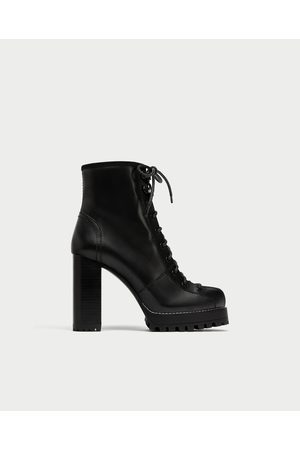 7acf008e19e LACE-UP LEATHER HIGH HEEL ANKLE BOOTS