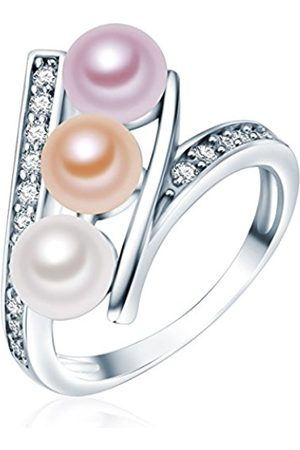 Valero Pearls Sterling Silver 925 rhodium-plated Ladies Ring with Freshwater cultured pearls apricot lilac and Zirconia Size K 60201410