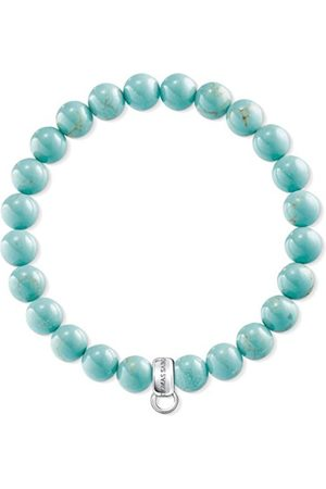 Thomas Sabo Unisex 925 Sterling Silver Simulated Turquoise Charm Bracelet of Length 15.5cm X0213-404-17-L15