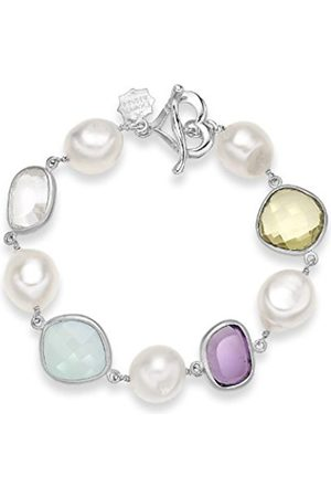 Dower & Hall Jewel Sterling Faceted Multi Gemstone and Freshwater Pearl T-Bar Bracelet of 20.50 cm