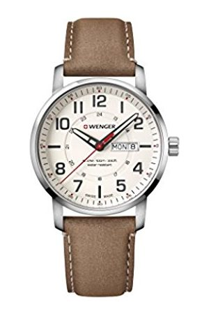 Wenger Men's Attitude - Swiss Made Analogue Quartz Stainless Steel Brown Leather Watch 01.1541.103