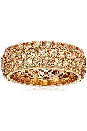 Yellow gold-Plated Sterling Silver Swarovski Zirconia Fancy Yellow Three-Row Pave Round Cut Ring