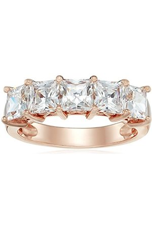Rose Gold-Plated Sterling Silver Swarovski Zirconia 3 cttw Princess Cut 5 Stone Ring S