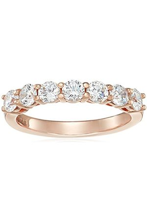 Rose Gold-Plated Sterling Silver Swarovski Zirconia 1 cttw Round Ring