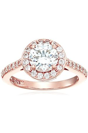 Rose Gold-Platinum Plated Sterling Silver Swarovski Zirconia 1.5 ct Round Center Halo Ring size S
