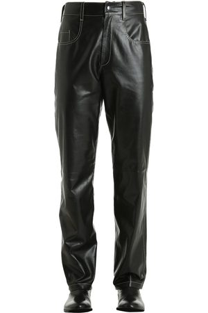 LEATHER PANTS W/ CONTRASTING STITCHING