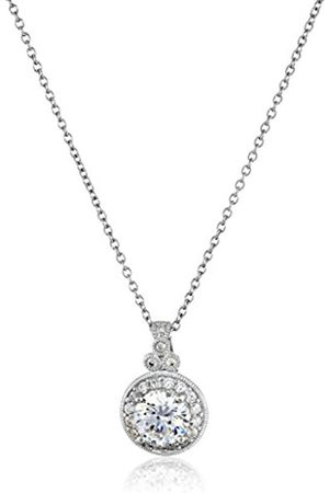 Platinum-Plated Sterling Silver and Swarovski Zirconia Round-Cut Antique Pendant Necklace