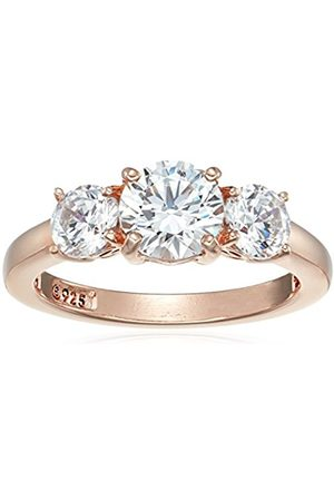 Rose Gold-Plated Sterling Silver Swarovski Zirconia 4 cttw Round 3 Stone Ring
