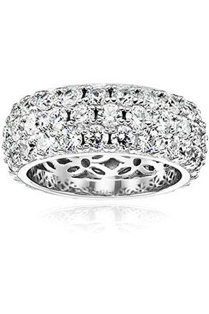 Platinum Plated Sterling Silver Swarovski Zirconia 3 Row Pave Round Cut Ring