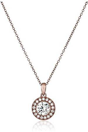 Rose- -Plated Sterling Silver Swarovski Zirconia Round-Cut Halo Pendant Necklace