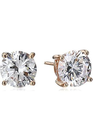 La Lumiere Rose Plated Sterling Silver Swarovski Zirconia (5cttw) Round Stud Earrings