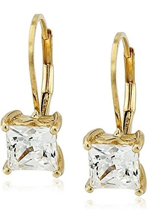 Plated Sterling Silver Swarovski Zirconia Princess-Cut Lever Back Earrings
