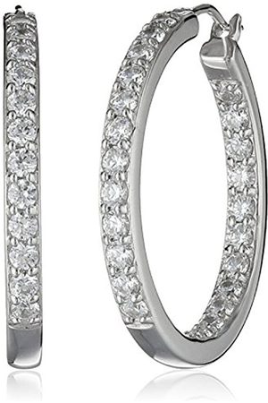Platinum Plated Sterling Silver and Swarovski Zirconia (3cttw) Inside-Out Hoop Earrings