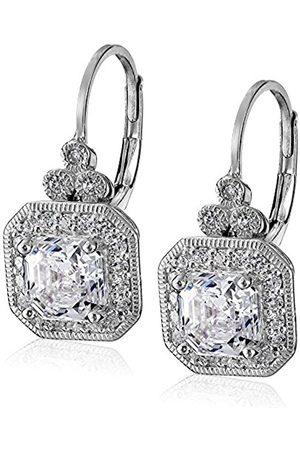 Platinum Plated Sterling Silver Swarovski Zirconia Asscher-Cut Antique Drop Earrings