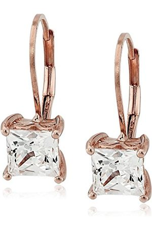 Rose Plated Sterling Silver Swarovski Zirconia Princess-Cut Lever Back Earrings