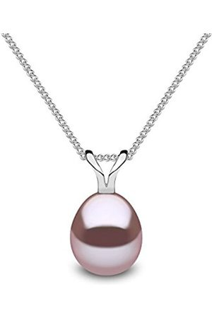 Kimura Silver Natural Colour Drop Shape Cultured Freshwater Pearl Pendant on 40cm Curb Chain P11975-18