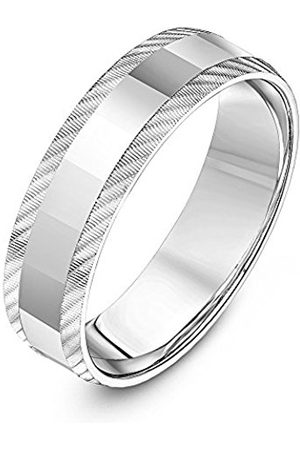 THEIA Unisex Sterling Polished and Diagonal Serrated Matt Edge Finish 6mm Wedding Ring - Size Z