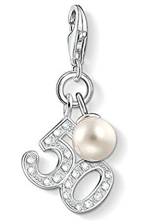Thomas Sabo Women-Charm Pendant 50 Charm Club 925 Sterling silver Zirconia White freshwater pearl 1241-167-14 Pc71cB