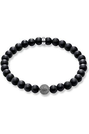 Thomas Sabo Women Men-Bracelet Rebel at heart 925 Sterling silver blackened Obsidian Length 19 cm A1354-704-11-L19