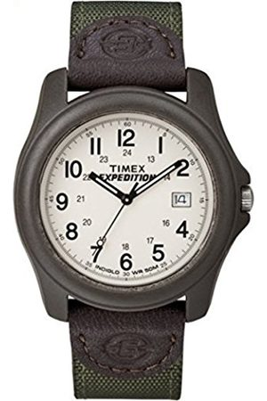 Timex Expedition Men's T49101 Quartz Camper Watch with Off-White Dial Analogue Display and Green/ Nylon/Leather Strap
