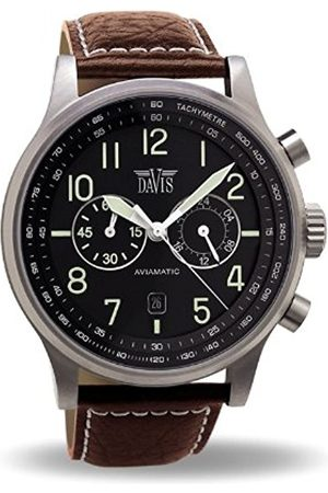 Davis 1021 - Mens Aviation Watch Chronograph Waterresist 50M Dial Date Leather Strap