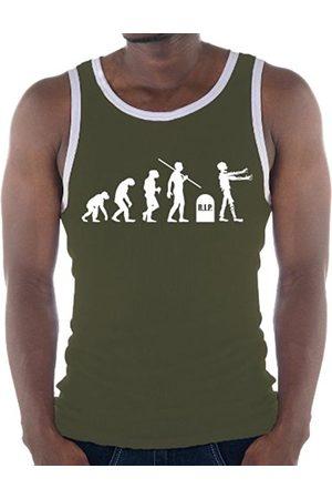Touchlines Men's Ringer Contrast Tank Top Evolution Zombies khaki/ Size:XXL