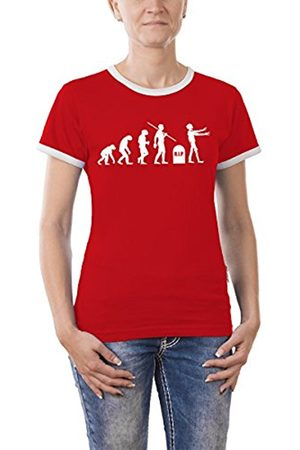 Touchlines Evolution Zombies Girlie Ringer Women's T-Shirt Contrast Size:S