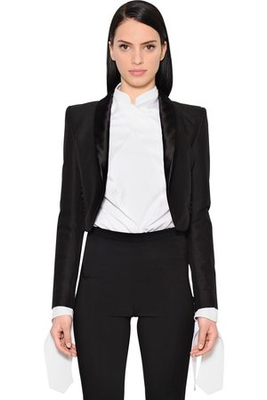ANTONIO BERARDI Women Jackets - CROPPED COTTON & WOOL BLEND JACKET