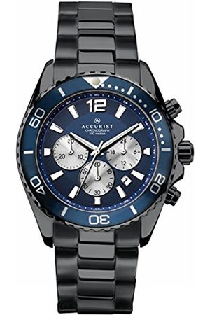 Accurist Men's Quartz Watch with Dial Chronograph Display and Black Satin Stainless Steel Bracelet 7206