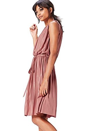 Women's Pleated Metallic Stripe Dress