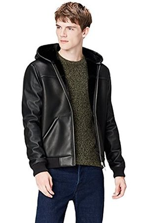 Men's Faux Leather Hooded Shearling Jacket