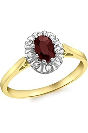 Carissima Gold Women's 9 ct 0.08 ct Diamond and Garnet Cluster Ring