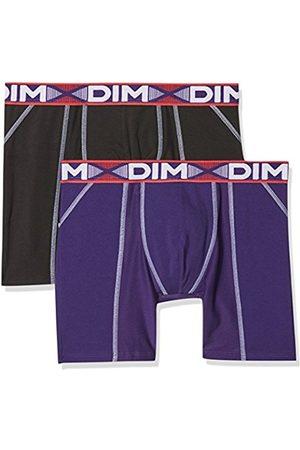 Dim Men's 3D Flex Air Boxer Long X2 Boy Short, Multicolore (Noir/Violet Auburn)