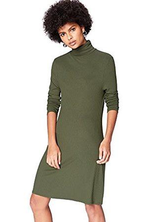 Women's Rib Swing Turtleneck Long Sleeve Dress - - 10