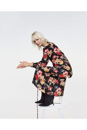 Zara PRINTED MIDI DRESS WITH VELVET PIPING