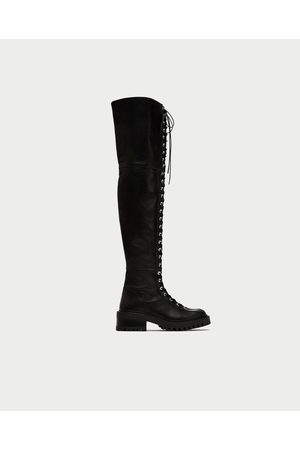 413c2ec29ab FLAT LACE-UP LEATHER BOOTS