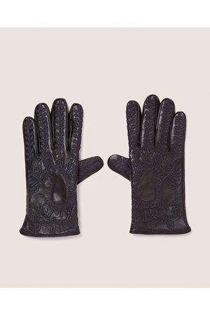 Zara EMBROIDERED LEATHER GLOVES