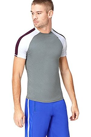 FIND Men T-shirts - Men's Colour Block Sports T-Shirt, ( MARL/ /Aubergine)